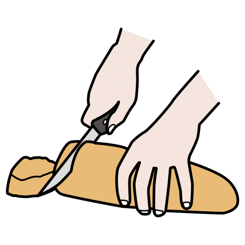 cut the bread, to cut the bread