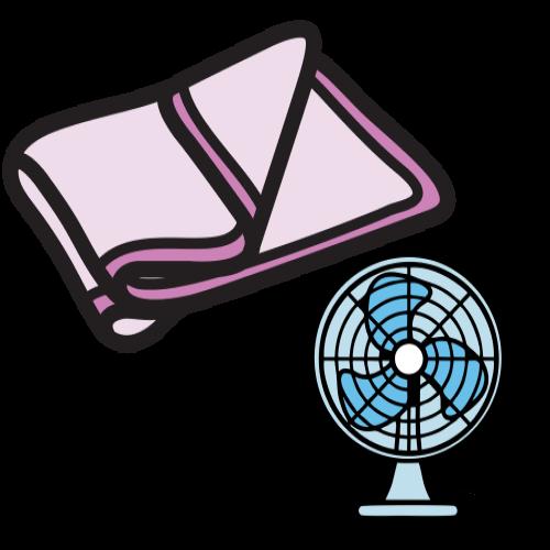 blanket and fan